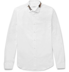 Valentino Slim-Fit Embellished Cotton-Poplin Shirt