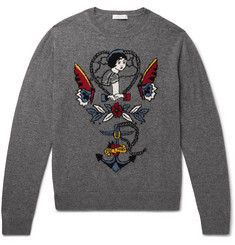 Valentino Intarsia Virgin Wool and Cashmere-Blend Sweater