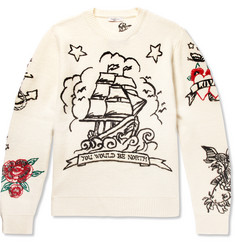Valentino Embroidered Virgin Wool and Cashmere-Blend Sweater