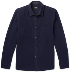 Fitz Wool-blend Flannel Shirt  Navy