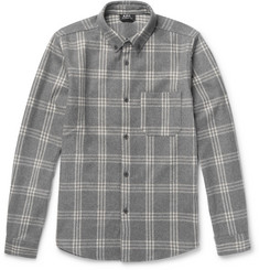 Walter Checked Wool-blend Flannel Overshirt  Gray