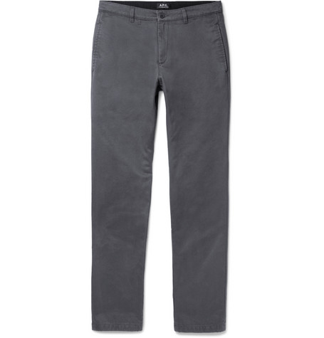 Pat Cotton-gabardine Chinos - Charcoal