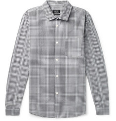 John Slim-fit Checked Cotton And Linen-blend Shirt  Navy