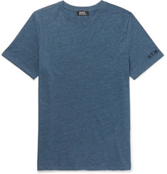 A.P.C. Embroidered Slub Cotton-Blend Jersey T-Shirt