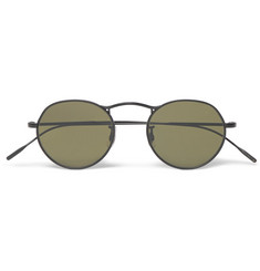 Oliver Peoples M-4 Round-Frame Black-Tone Metal Sunglasses
