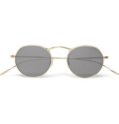 Oliver Peoples M-4 Round-Frame Gold-Tone Metal Sunglasses