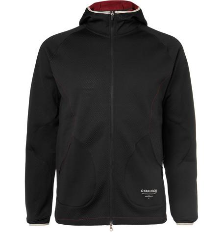 de8a912000f5aa Nike Lab Gyakusou Perforated Fleece-Back Neoprene Zip-Up Hoodie In Black