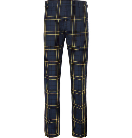 joseph male navy jack slimfit prince of wales checked cottontwill trousers