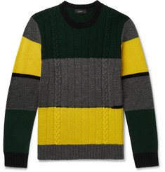 Joseph Colour-Block Cable-Knit Wool Sweater
