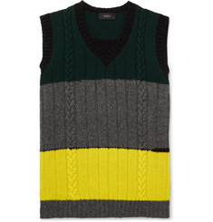 Joseph Slim-Fit Colour-Block Cable-Knit Wool Sweater Vest