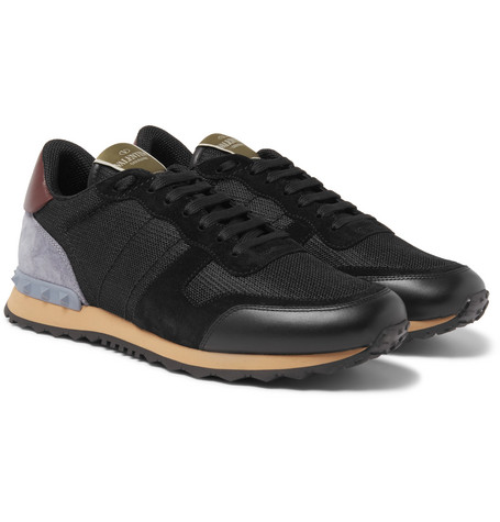 Leather-trimmed Suede And Mesh Sneakers - Black