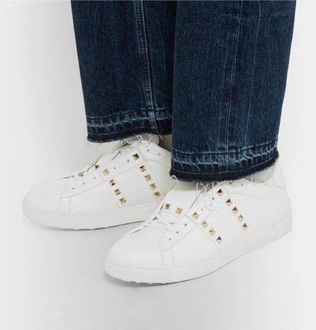 VALENTINO Rockstud Untitled #11 Low-Top Leather Trainers in White