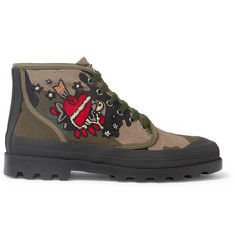 Valentino Appliquéd Camouflage-Print Canvas Boots