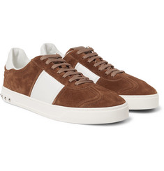 Valentino - Flycrew Leather-Panelled Suede Sneakers