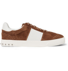 Valentino Flycrew Leather-Panelled Suede Sneakers