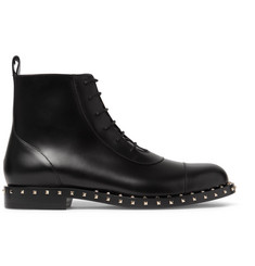 Valentino Soul Rockstud Polished-Leather Boots