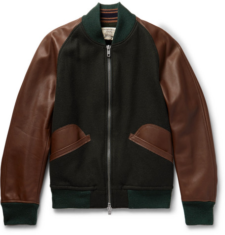 Wool-blend And Leather Bomber Jacket - Green