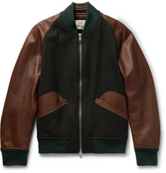 Kent & Curwen Wool-Blend and Leather Bomber Jacket