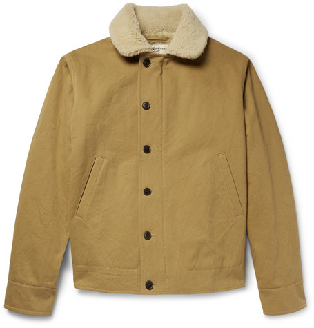 Shearling Trimmed Cotton Canvas Jacket by Kent &Amp; Curwen