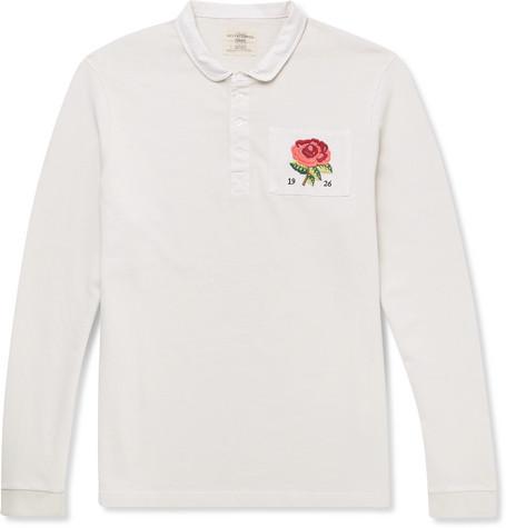 Appliquéd Loopback Cotton-jersey Polo Shirt - Cream