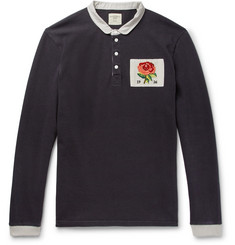 Kent & Curwen Appliquéd Cotton-Jersey Polo Shirt