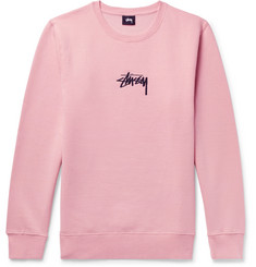 Stüssy Embroidered Fleece-Back Cotton-Blend Jersey Sweatshirt