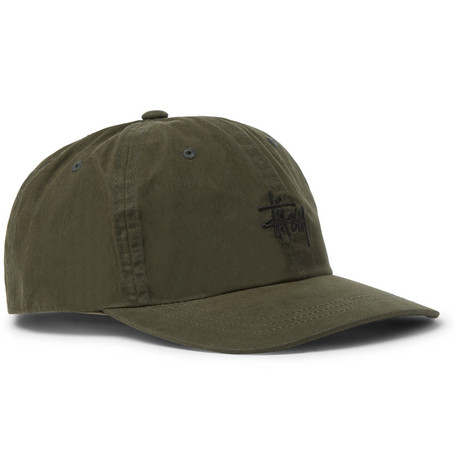 Embroidered Waxed-cotton Baseball Cap - Green