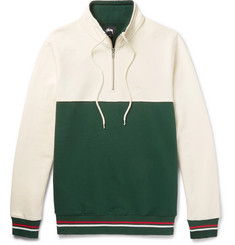 Stüssy Two-Tone Fleece-Back Cotton-Jersey Half-Zip Sweatshirt