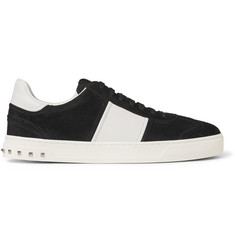 Valentino Flycrew Leather-Trimmed Suede Sneakers