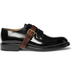 Valentino Buckle-Detailed Polished-Leather Oxford Shoes