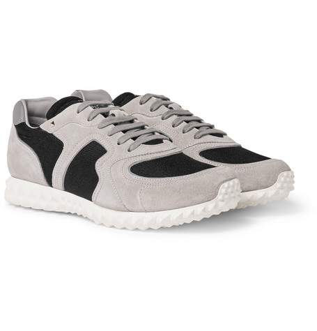 Suede And Mesh Sneakers - Gray