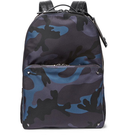 Valentino Garavani Leather-trimmed Camouflage-print Shell Backpack - Blue