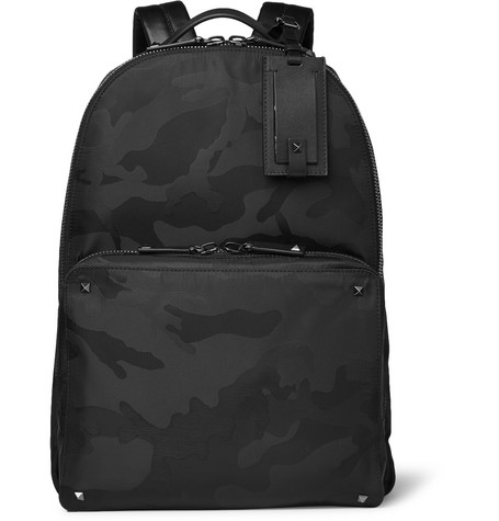 Leather-trimmed Camouflage-jacquard Shell Backpack - Black