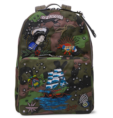 Valentino - Embellished Leather-Trimmed Camouflage-Print Canvas Backpack - Green