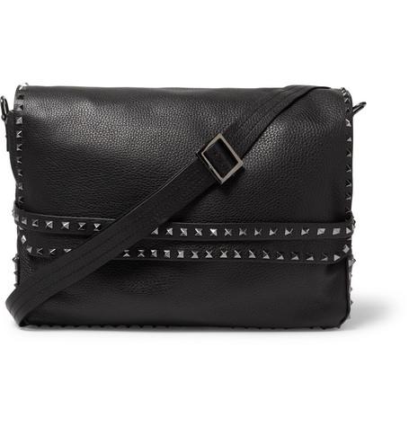 Valentino Garavani Rockstud Full-grain Leather Messenger Bag thumbnail