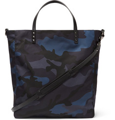 Valentino - Leather-Trimmed Camouflage-Print Shell Tote Bag