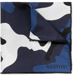 Valentino Double-Sided Camouflage-Print Silk-Twill Pocket Square