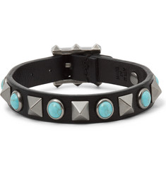 Valentino Leather Silver-Tone and Turquoise Bracelet