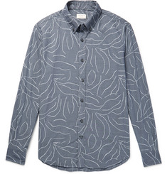 Club Monaco Slim-Fit Button-Down Collar Printed Cotton-Chambray Shirt