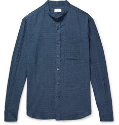 Club Monaco Slim-Fit Grandad-Collar Checked Textured Stretch-Cotton Shirt