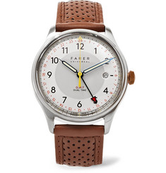 Farer Barnato II GMT Stainless Steel and Leather Watch