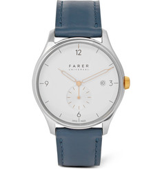 Farer Meakin Stainless Steel and Leather Watch