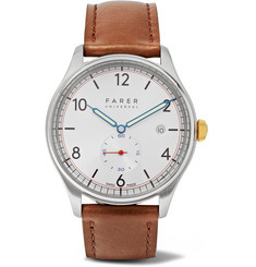 Farer Stark Stainless Steel and Leather Watch