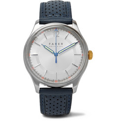 Farer Kingsley Stainless Steel and Leather Watch