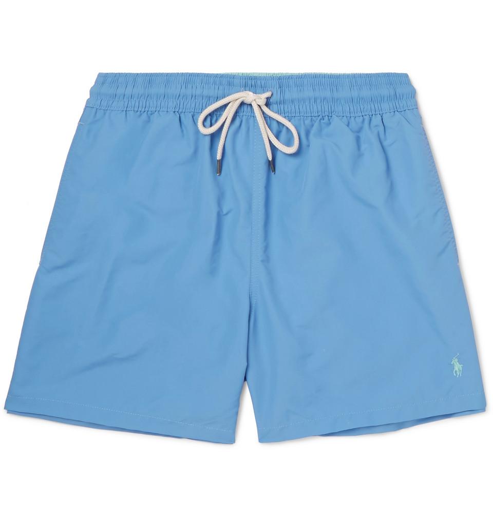 Traveller Mid-length Swim Shorts - Light blue