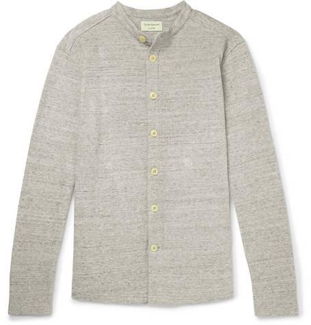Oliver Spencer Victory Slim-fit Grandad-collar Cotton Overshirt In Gray