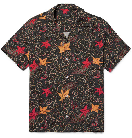 Batik Canty Camp Collar Printed Cotton Shirt by Saturdays Nyc