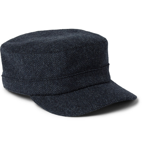 Herringbone Wool Cap - Navy