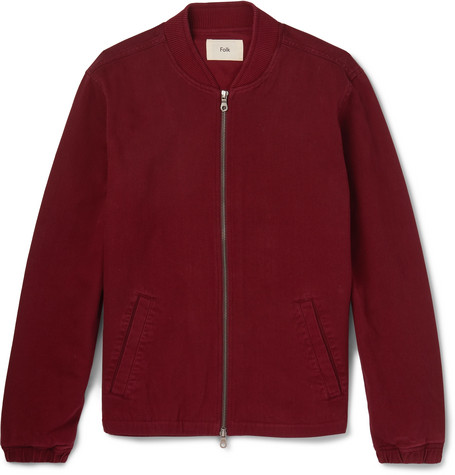 Garment-dyed Cotton-twill Bomber Jacket - Burgundy