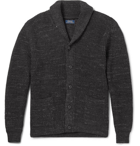 Shawl-collar Mélange Ribbed Cotton Cardigan - Charcoal